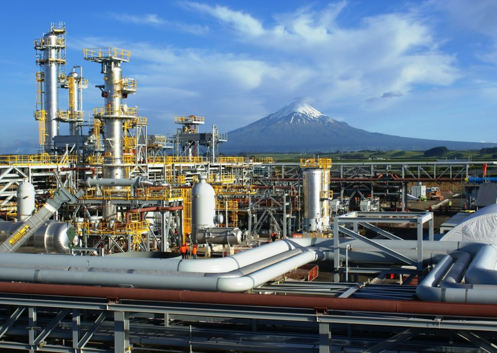 Image of Kupe gas production facility with snow-capped peek of Mt Taranaki in background